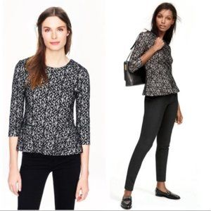 J. Crew Black and White Lace Peplum Top NWOT